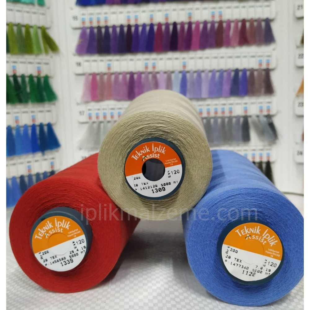 Asist 120 no Polyester Dikiş İpliği Renkli 5000 mt.